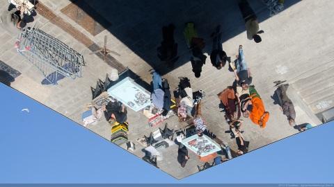 Upside down fish market