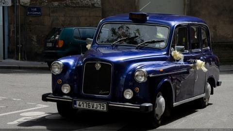 Blue wedding cab